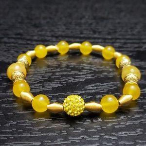 🆕 NWT Yellow & gold stretch bracelet Handmade